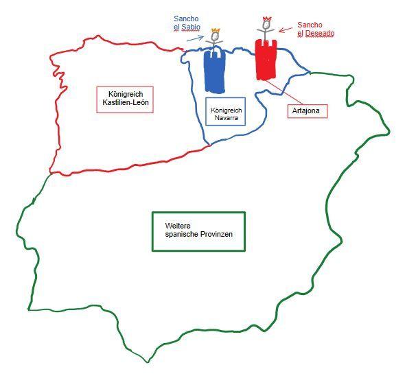 Skizze des Koenigreichs Navarra mit der Enklave Artajona und den beiden Koenigen