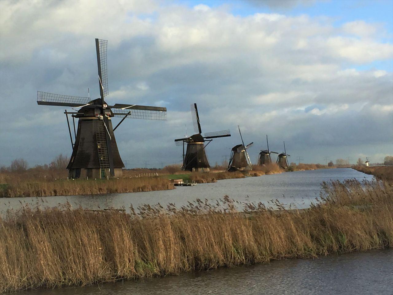 Muehlenlandschaft am Kinderdijk in den Niederlanden