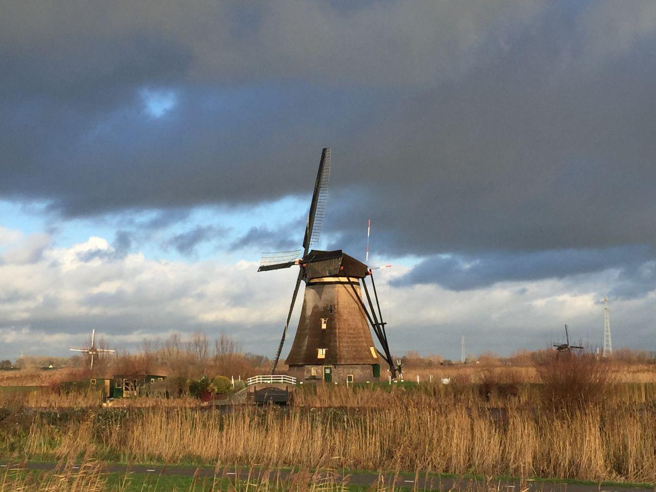 Overwaard-Muehle im Sonnenlicht am Kinderdijk in den Niederlanden