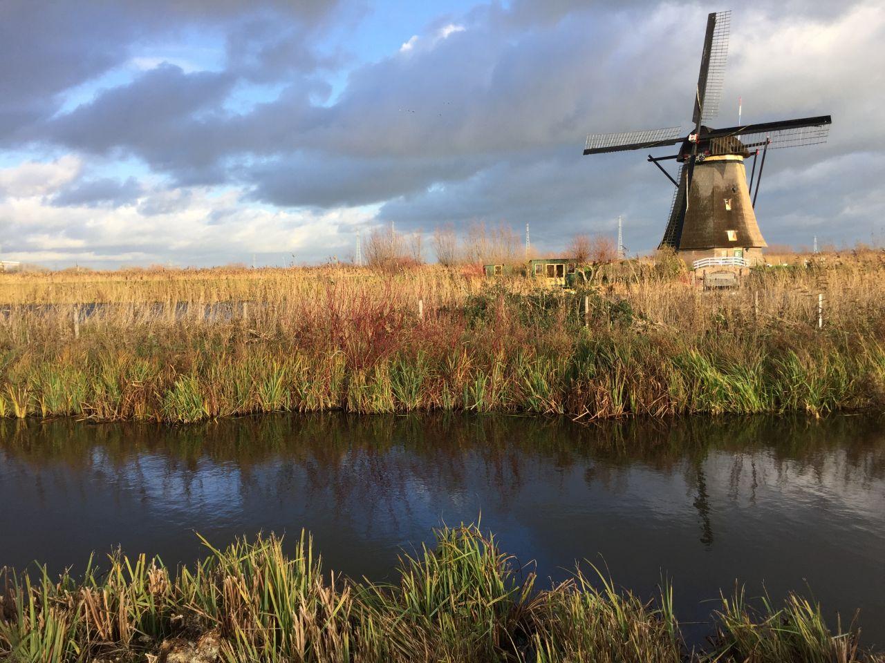 Muehle mit romantischer Kulisse am Kinderdijk in den Niederlanden