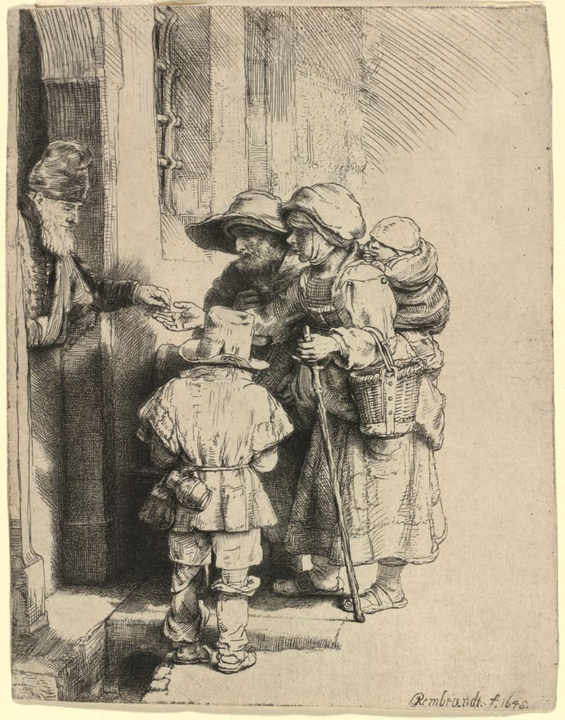 Rembrandt van Rijn (Dutch, 1606 - 1669), Beggars Receiving Alms at the Door of a House, 1648, etching, engraving, and drypoint, Rosenwald Collection 1943.3.7130
