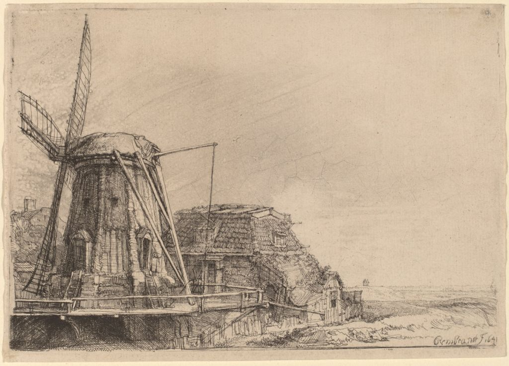 Rembrandt van Rijn (Dutch, 1606 - 1669 ), The Windmill, 1641, etching, Rosenwald Collection