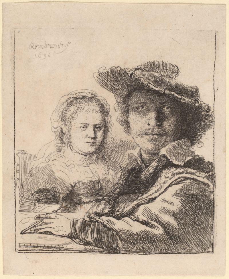 Rembrandt van Rijn (1606 - 1669 ), Selbstportrait mit Saskia, 1636, Radierung, Rosenwald Collection