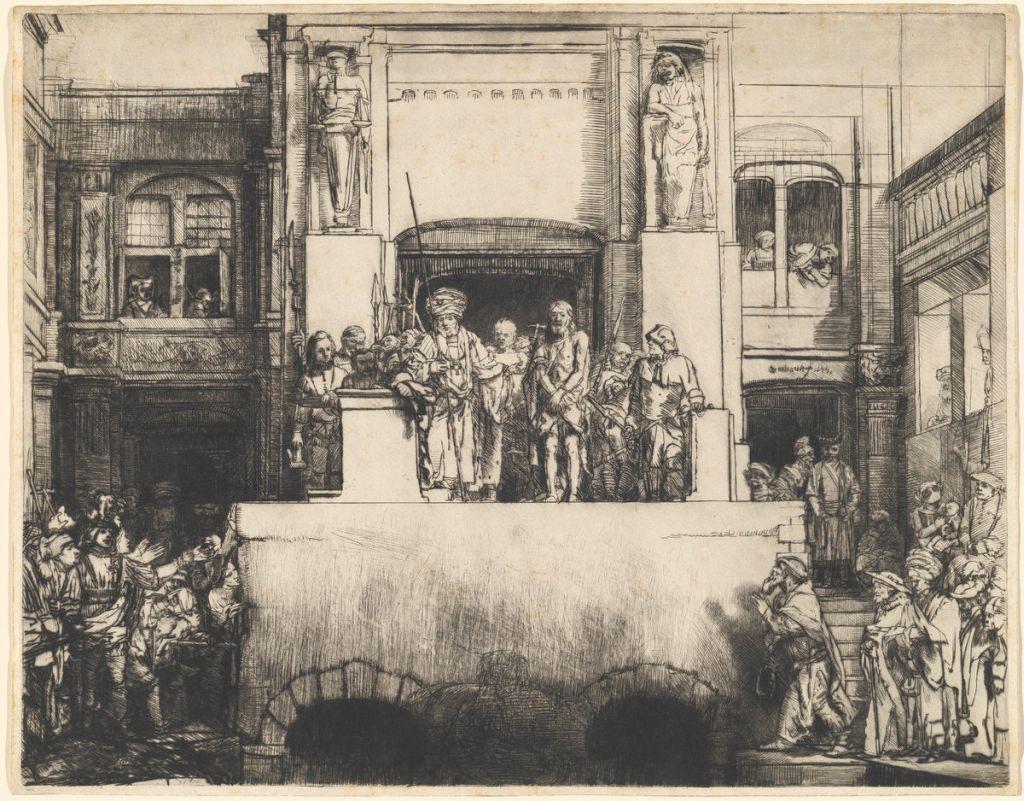 Rembrandt van Rijn, Christus dem Volke präsentiert; Radierung, 1655, Rosenwald Collection