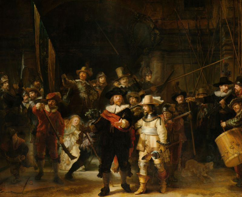 Rembrandt Harmensz. van Rijn, Militia Company of District II under the Command of Captain Frans Banninck Cocq, Known as the 'Night Watch', 1642. Rijksmuseum, Amsterdam. On loan from the City of Amsterdam